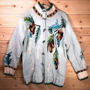 Storybook Knits Cardigan Sweater With Pinecones